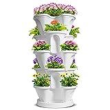 T4U Macetero Vertical de plástico de 5 Niveles,apilable de Fresas y Hierbas con platillo para Plantas de Flores Vegetales, Torre de jardín de riego automático para Interiores balcón,Color Blanco