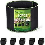 HOUSE DAY Bolsa de Cultivo (Paquete de 10) - 45 litros / 10 galones Maceta de Cultivo con asa Negro - Transpirables Macetas de Geotextil para Orgánico de Vegetales, Flores y Plantas