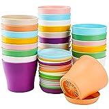 Tosnail Paquete de 24 macetas pequeñas de plástico con platillos de 10 cm y platillos para guardería, macetas con contenedores de jardinería para plantación de palés, varios 8 colores