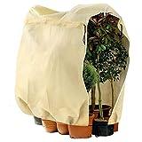 Telgoner Funda para Plantas, Cubierta para Plantas Protección con Cordón con Cremallera, Bolsa Protectora Reutilizable para Plantas con Protección Contra Heladas, 180 x 120 cm, Beige