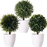 FagusHome 20cm Alto Plantas Artificiales en Maceta 3 Piezas árbol en Forma de Bola en Maceta boj Artificial plástico para decoración (G)