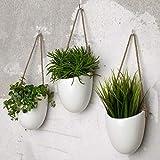 Kazai. | Set de 3 floreros de cerámica | Blanco Brillante