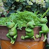 Yigenten Ranas trepadoras Adornos creativos para Colgar en macetas de Animales, Accesorios de jardín de Hadas en Miniatura de Rana de Resina, decoración de macetas para (Frog)