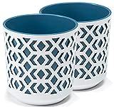 TYMAR Maceta, 2 unidades, forma redonda, color blanco y azul marino, diámetro de 14 cm