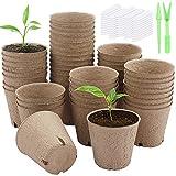 Hileyu Paquete de 50 macetas de turba, 8 cm, macetas de plántulas, macetas de Inicio de Semillas biodegradables, macetas de Inicio de germinación orgánica con 50 Etiquetas de Plantas