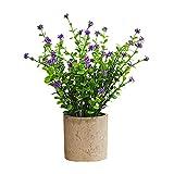 Plantas artificiales en maceta, lila, loto, 25 cm, mini planta artificial, maceta de plástico, maceta de flores moradas, loto, salón, balcón, dormitorio, verde (1 paquete)