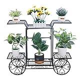 unho Estantería para Macetas de Hierro Soporte de Flores Plantas para Jardín Exterior Interior Estantería Decorativa con 6 Estantes 83 x 22 x 68,5cm