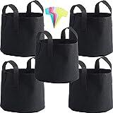 Bolsas de cultivo de 3 galones, Paquete de 5 macetas de tela de aireación resistentes, bolsas de cultivo de plantas, macetas de tela, bolsas de cultivo de tela con asas