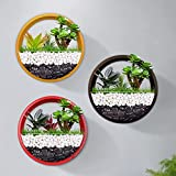 Conjunto de 3 colores mezclados para colgar en la pared, maceta circular, florero de pared redondo, contenedor de plantas verticales para decoración de paredes (15cm,Rojo + Amarillo + Marrón)