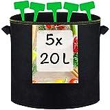 5 Macetas Geotextiles de 20L con 5 Etiquetas - Con Asas - Sacos para Plantas, Hierbas Aromaticas, Rabanos, Fresas