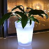 Maceta con luz LED blanca, alimentada con energía solar, para decoración de jardín, patio, balcón