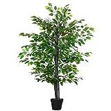 Outsunny Árbol de Ficus Artificial de 145 cm de Altura 756 Hojas con Maceta para Decoración de Hogar Interiores y Exteriores Verde