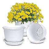 Macetero de plástico con platillo para flores y plantas, diámetro de 18 cm (3 unidades), color blanco