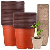 Macetas de plástico Saijer, biodegradables, de propagación multifuncionales, macetas de jardín, maceta de siembra, macetas de cultivo apto para semillas, plántulas, esquejes, macetas de transición