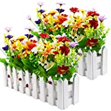 Plantas artificiales al aire libre – Color mixto margaritas en maceta de valla de palisada para interior de oficina, boda, decoración principal, 2 juegos