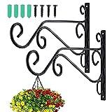 Zocipro 2Pcs Soporte para Macetas Colgantes de Metal Exterior, Duradero Gancho Pared de Hierro, Elegante Sencillo Soporte Jardinera Balcon, para Decoración de Jardín, Macetas, Linterna