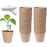 Dsaren 100 Piezas 8cm Macetas Biodegradables Redondas Fibra Macetas Turba Semilleros con 100 Etiquetas Jardineria para Plantas Semillas Plántulas Vegetales Germinantes y Trasplantes (100 Pcs)